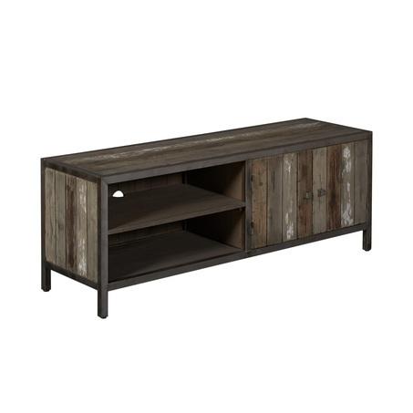 kasten-wouter-tv dressoir-Towerliving-KL 0144-150cm-oud grenen-grijs-vintage-metaal-industrieel