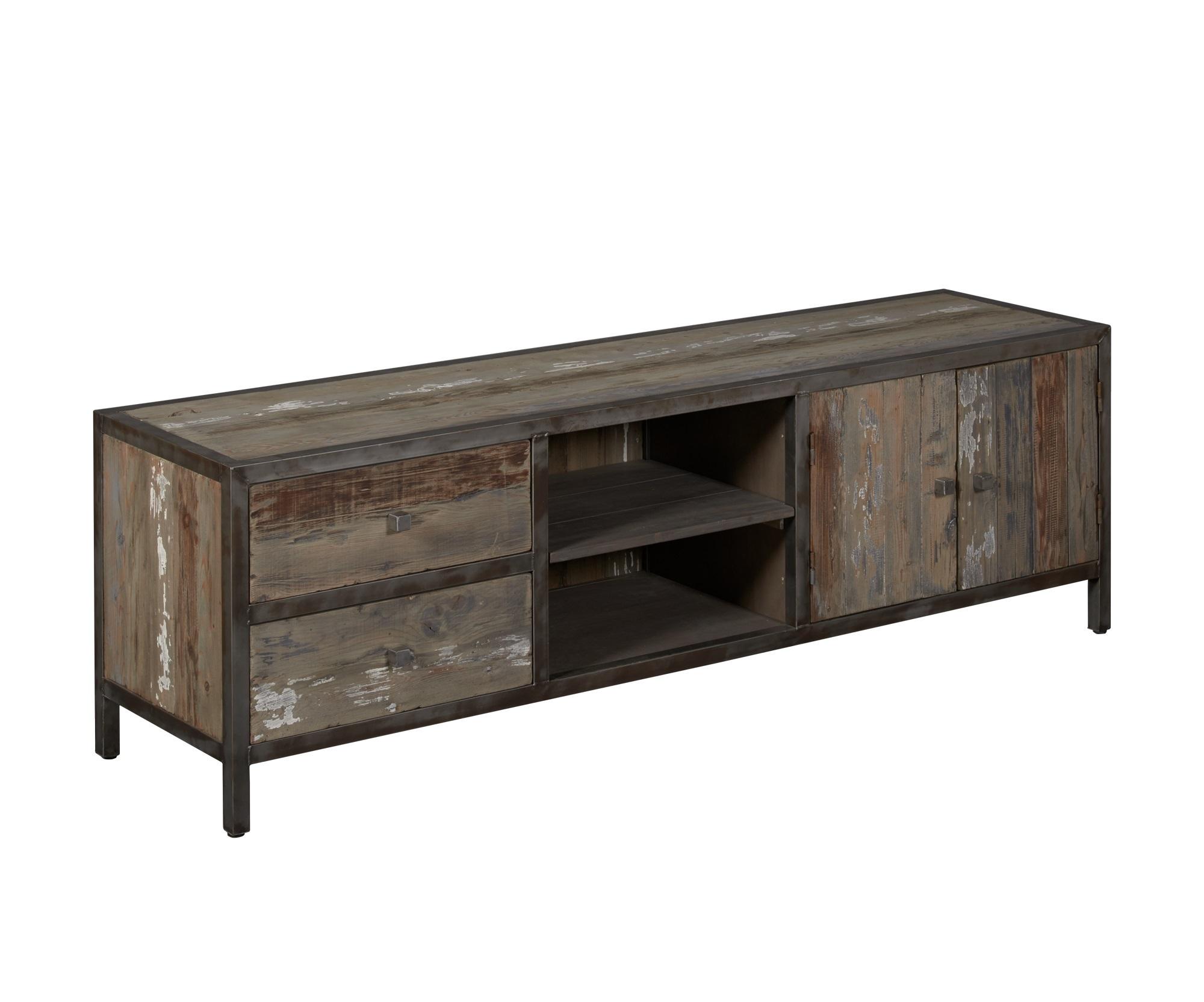 kasten-wouter-tv dressoir-towerliving-KL 0145-180cm-oud grenen-grijs-vintage-metaal-industrieel