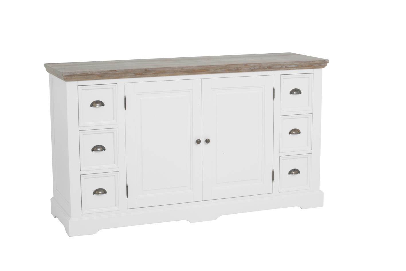 kast-fleur-dressoir-towerliving-DD0014-160cm-vergrijsd hout-trendy wit-laadjes-deurtjes-komgreep