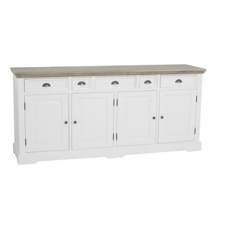 kast-fleur-dressoir-Towerliving-DD0013 -200cm-vergrijsd hout-trendy wit-laadjes-deurtjes-komgreep