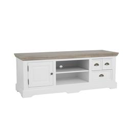 kast-fleur-tv dressoir-Towerliving-DD0023 -145,5cm-vergrijsd hout-trendy wit-laadjes-komgreep