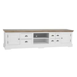 kast-fleur-tv dressoir-Towerliving-DD0022 -220cm-vergrijsd hout-trendy wit-laadjes-komgreep