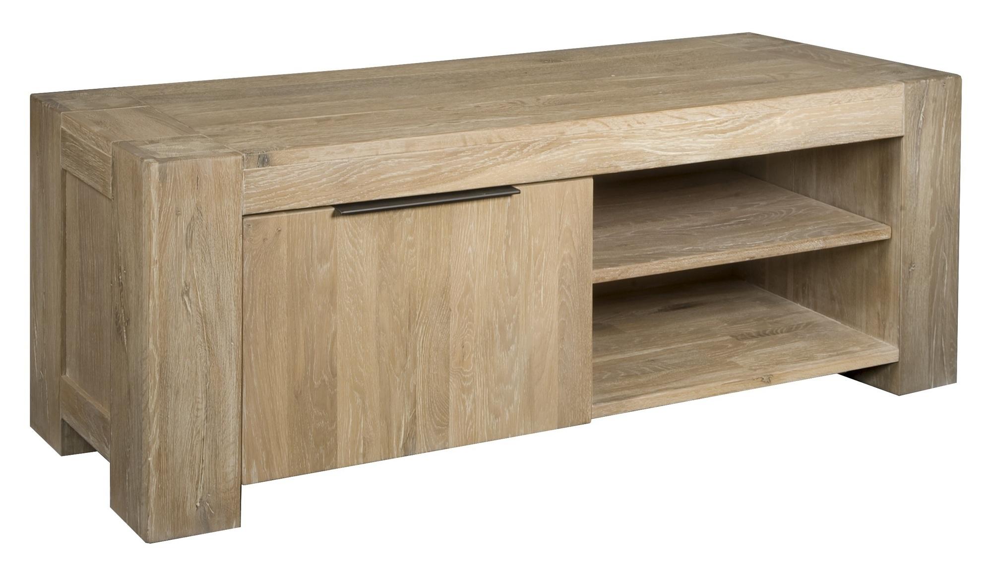 kast-luuk-tv dressoir-towerliving-BM 1009-145cm-eiken-whitewash-deurtje-planken