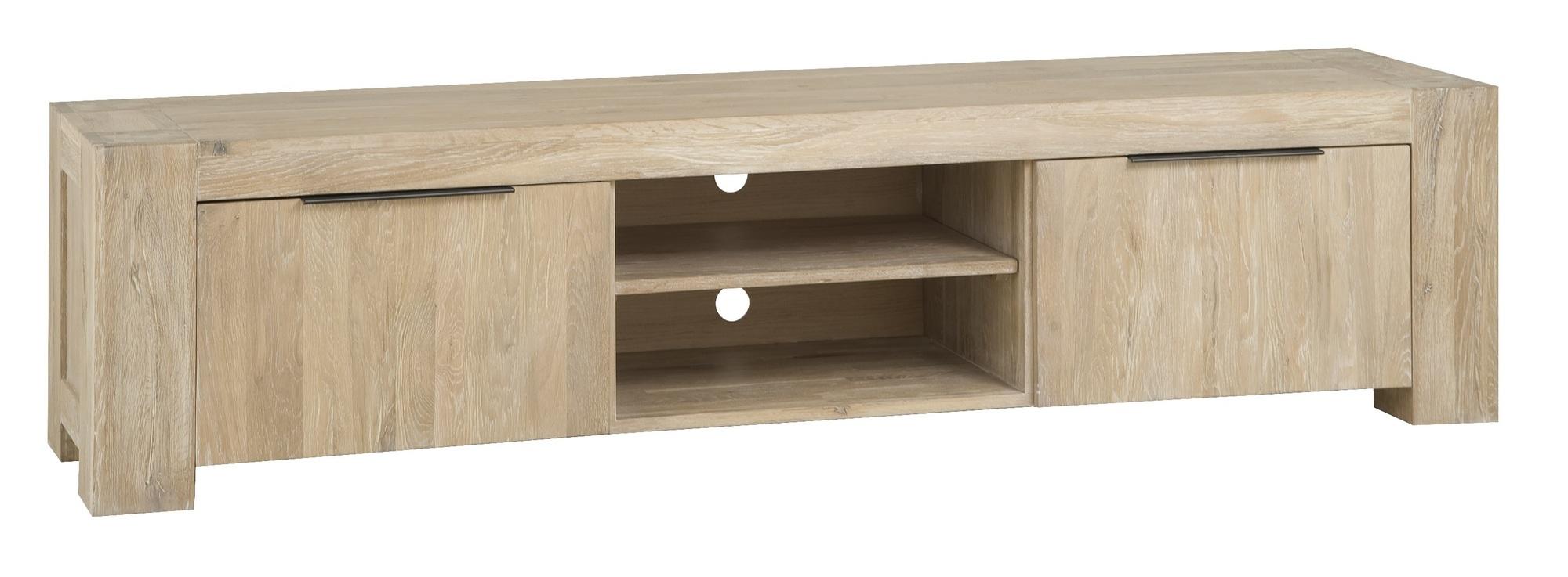 kast-luuk-tv dressoir-towerlving-BM 1011-210cm-eiken-whitewash-deurtjes-planken