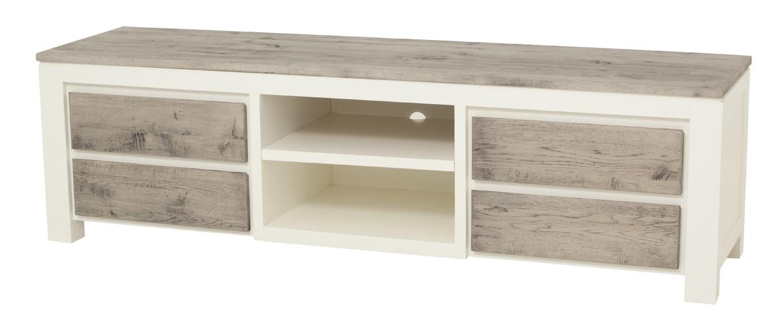 kast-roy-tv dressoir-towerliving-MC 0013-190cm-vergrijsd eiken-wit-landelijk-vakken-laden