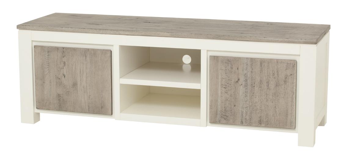 kast-roy-tv dressoir-towerlving-MC 0012-160cm-vergrijsd eiken-wit-landelijk-vakken-deurtjes