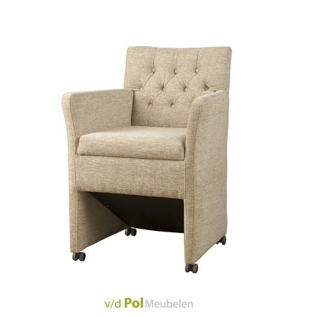 Eetkamerstoel-eetstoel-stoel-armstoel-stoel-met-armleuning-en-wieltjes-wielen-knopen-gecapitonneerd-eetkamerfauteuil-stof-roble-royaal-klassiek-landelijk-gesloten-onderstel-fleur-tower-living-beige-geel-bruin