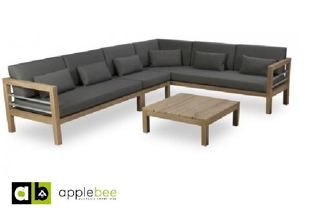 loungeset-del mar-applebee-4-delig-rechts-teakhout-aluminium-beewett kussens-salontafel