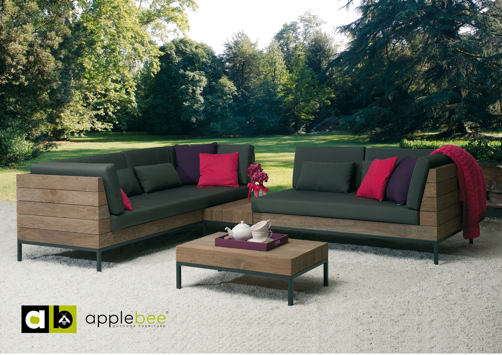 Loungeset-Long Island-Applebee-tuin-sofa-love seat links-tussenelement-salontafel-teak-all weather
