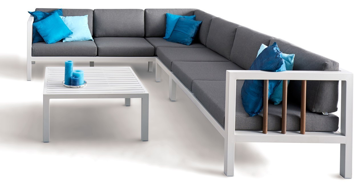 Loungeset-Luna-Applebee-tuin-love seat links -sofa-tussenelement-koffietafel-armkussen-aluminium-grijs