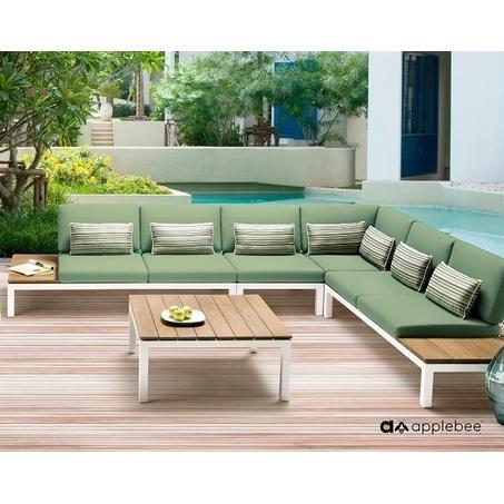 Loungeset-Pebble beach-Applebee-tuin-love seat-hoekelement-tussenelement-koffietafel-aluminium-groen-forrest-teakhout