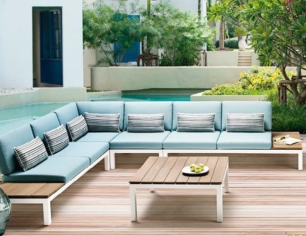 Loungeset-Pebble beach-Applebee-tuin-love seat-hoekelement-tussenelement-koffietafel-aluminium-lichtblauw -teakhout