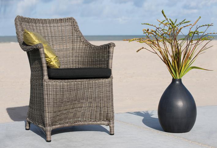 tuinstoel-Green Bay-dining chair-grijs-vlechtdraad-aluminium frame-bee wett