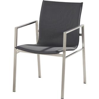 tuinstoel-resort-4 seasons-RVS frame-textileen-stapelbaar-antraciet