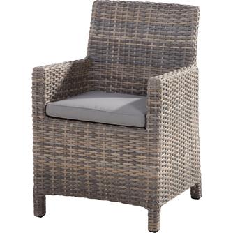 tuinstoel-Eden-4 seasons-dining chair-aluminium frame-vlechtwerk-grijs