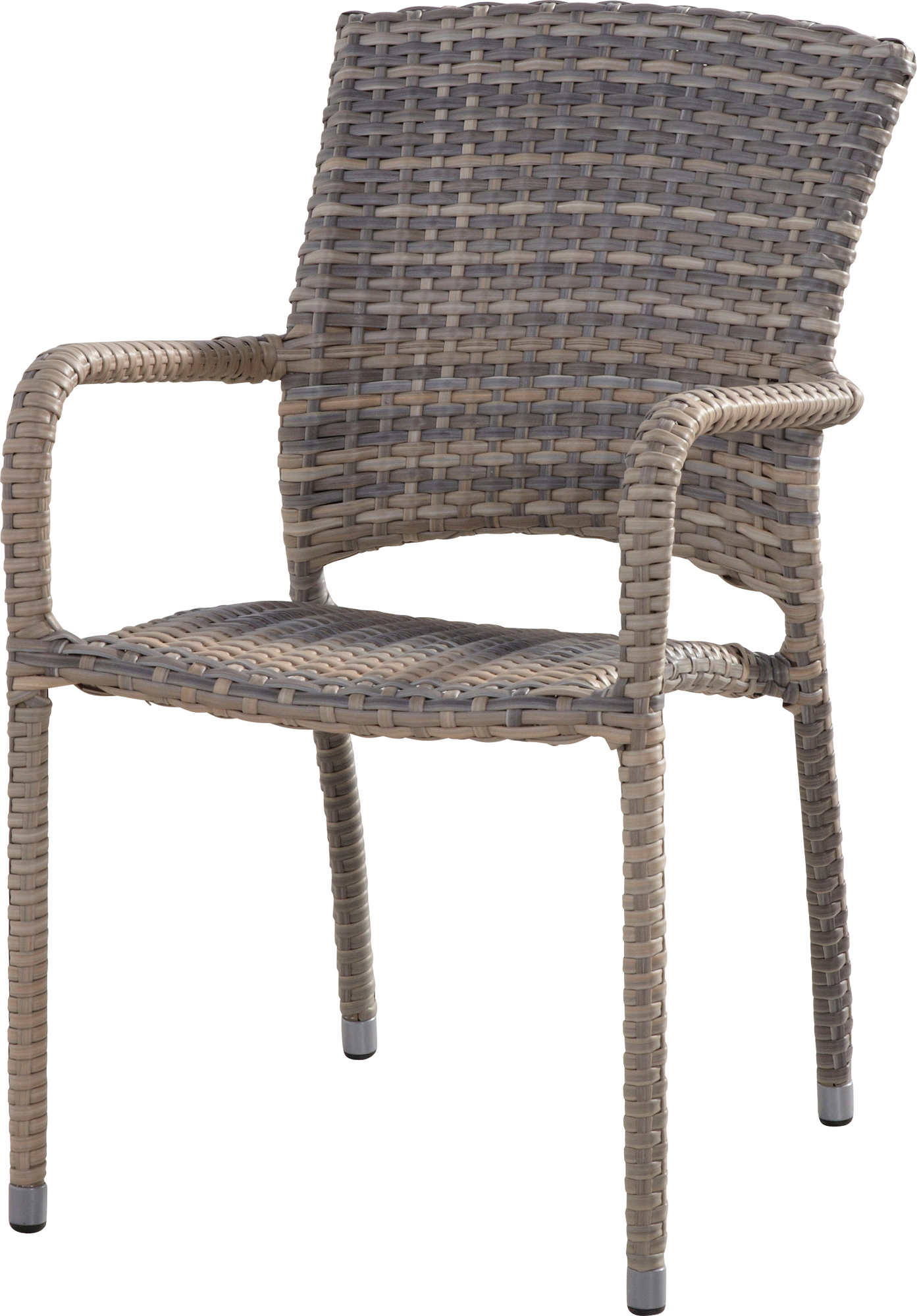 tuinstoel-Cafe lagun-4 seasons-wicker-taupe-stapelbaar-aluminium frame