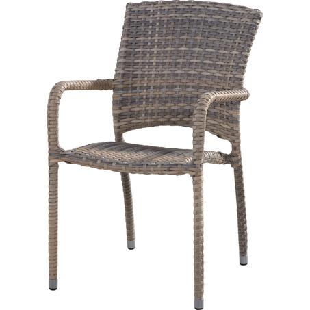 tuinstoel-Cafe lagun-4 seasons-wicker-taupe-stapelbaar-aluminium frame