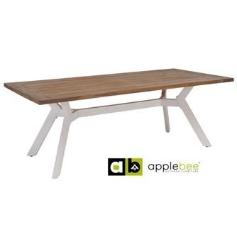 Tuintafel-tafel-eettafel-outdoor-buiten-tuin-Viking-Applebee-tuin-natural-aluminium-teakhout -witte-poot