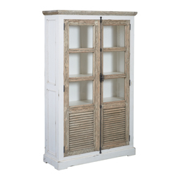 kast-vitrinekast-amanda-jouwmeubel-TD 0012-oudwit-vergrijsd grenen-120cm-2 deuren