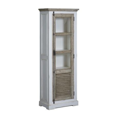 landelijke vitrinekast amanda van wit met vergrijsd grenen hout met 1 louvredeur. Afmeting 190x70x40cm