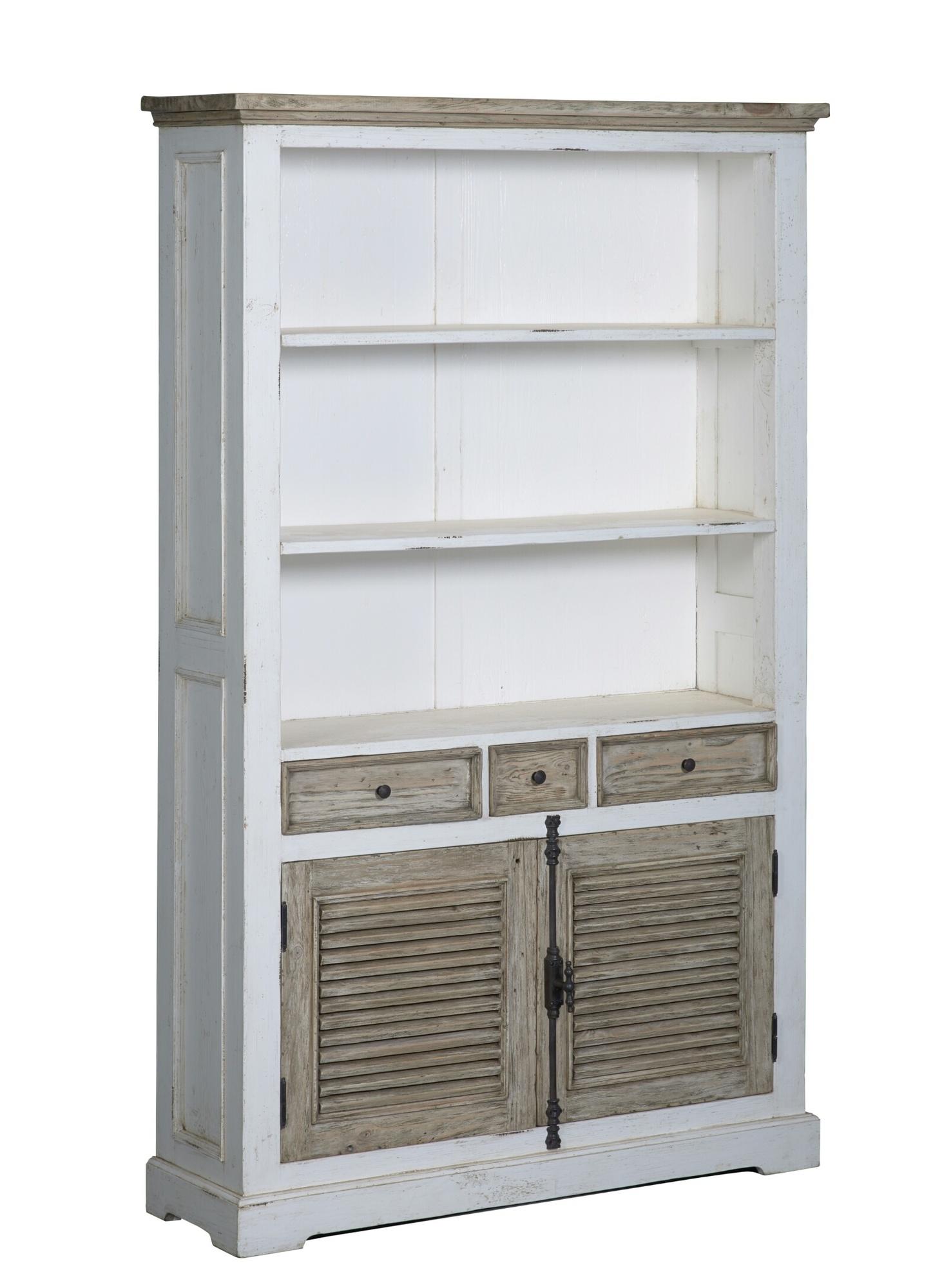 kast-boekenkast-amanda-towerliving-TD 0014-oudwit-vergrijsd grenen-120cm-2 deuren-3 vakken