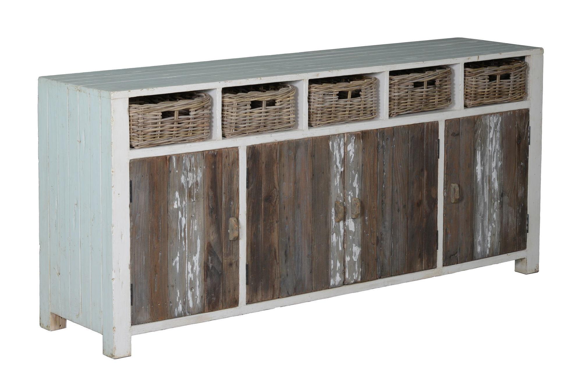 kasten-daan-dressoir-towerliving-200cm-KL 0100-grenen-oud wit-grijs-vintage-manden