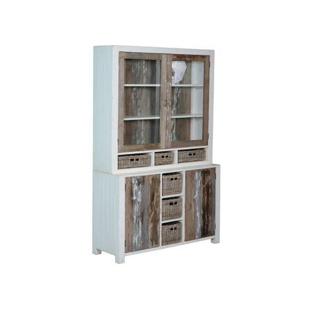 kasten-daan-buffetkast-towerliving-140cm-KL 0102-grenen-oud wit-grijs-vintage-mandjes-glazen deurtjes