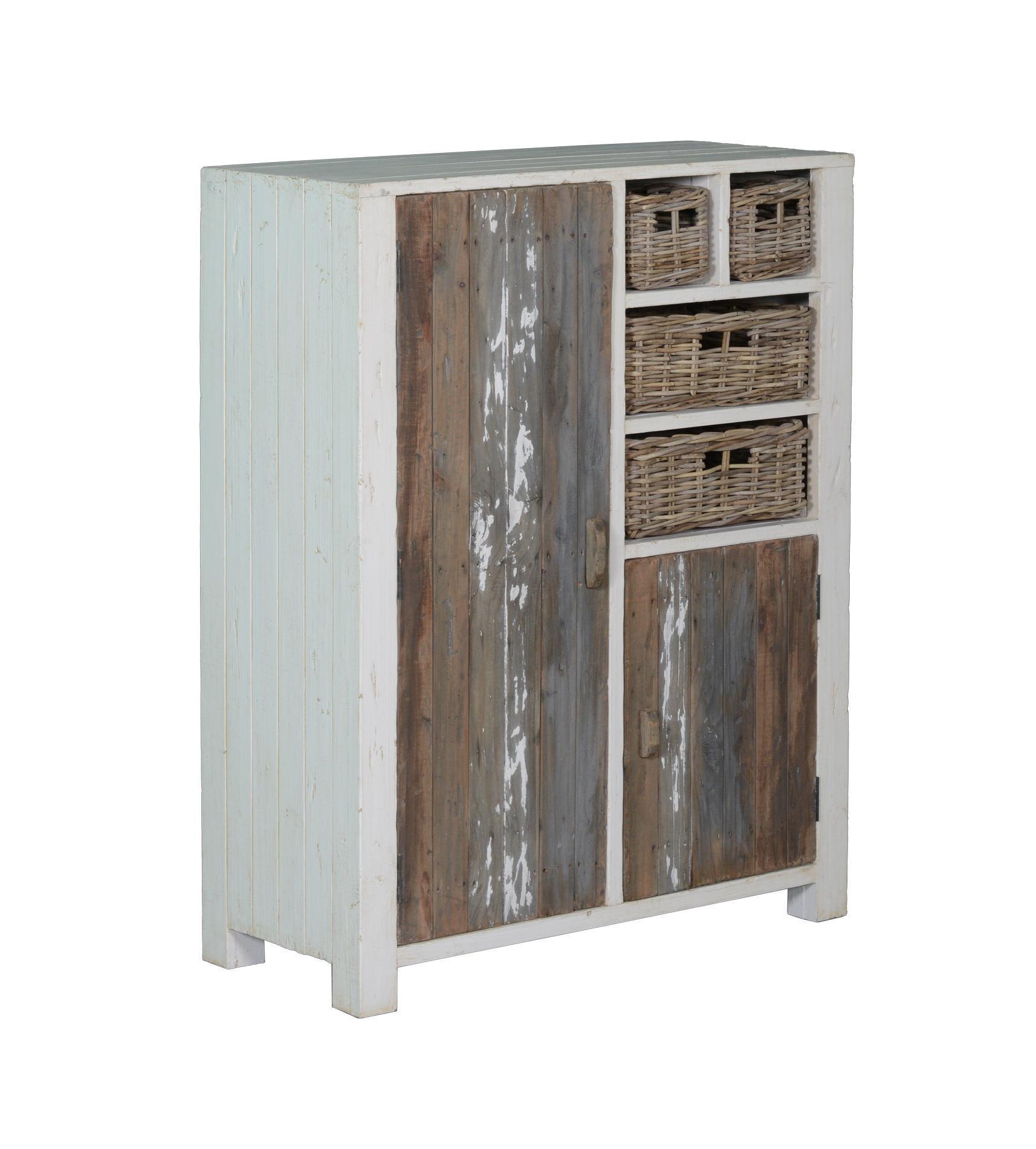kasten-daan-spekkast-towerliving-KL 0103-101cm-grenen-oud wit-grijs-vintage-mandjes-deurtjes