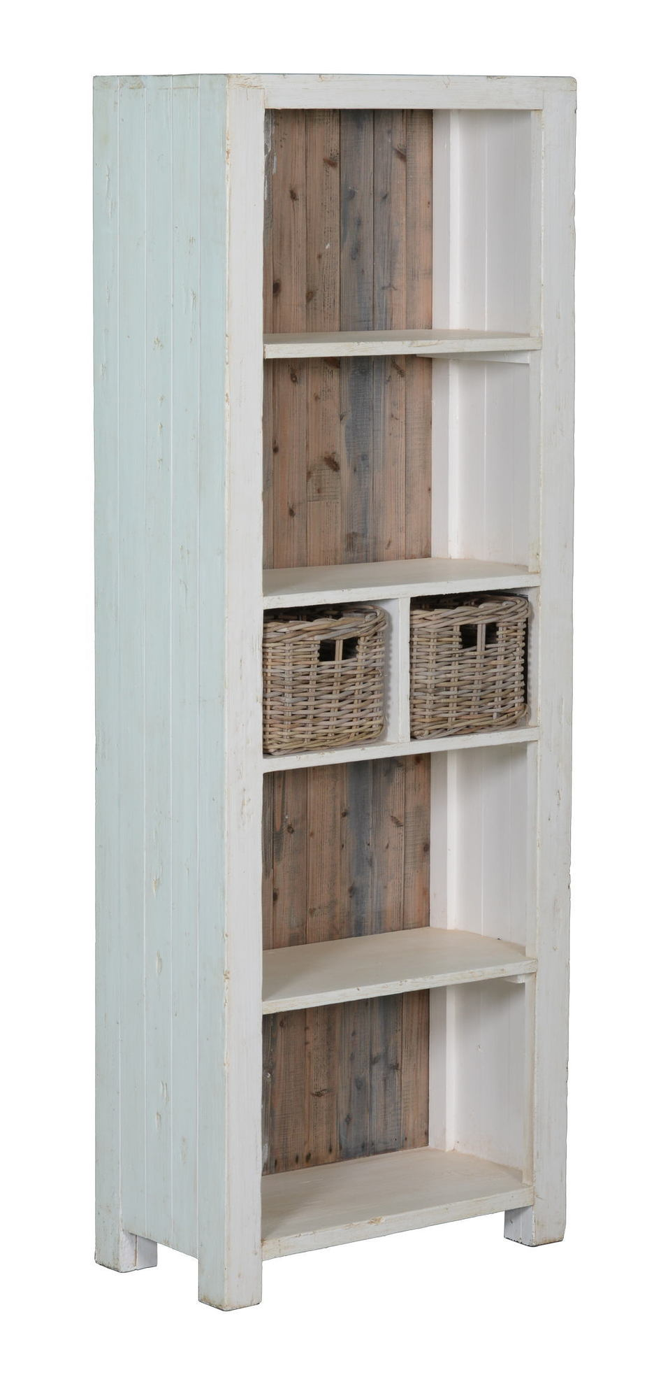 kasten-daan-boekenkast-towerliving-KL 0105-70cm-grenen-oud wit-grijs-vintage-mandjes