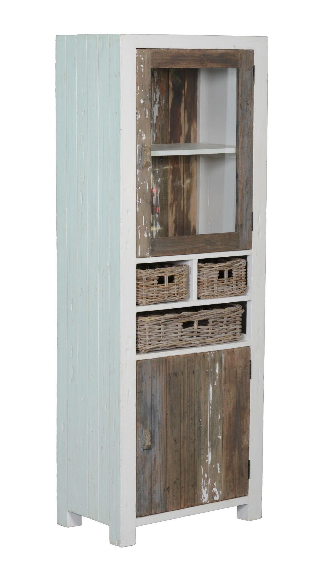 kasten-daan-vitrinekast-towerliving-KL 0104-70cm-grenen-oud wit-grijs-vintage-mandjes