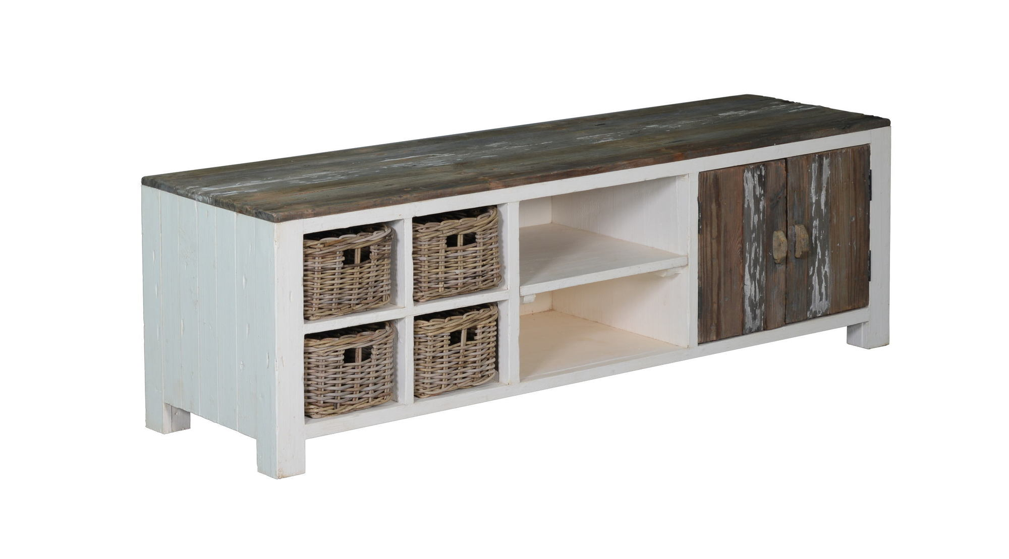 kasten-daan-tv dressoir-towerliving-KL 0106-180cm-grenen-oud wit-grijs-vintage-mandjes