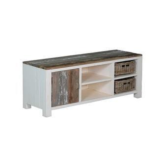 kasten-daan-tv dressoir-towerliving-KL 0107-145cm-grenen-oud wit-grijs-vintage-mandjes