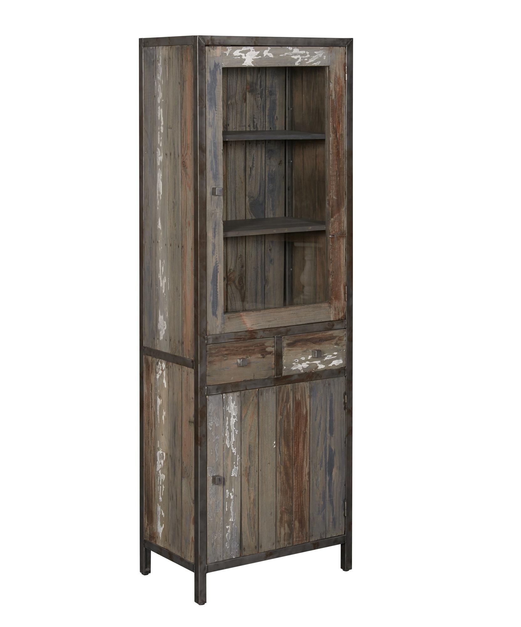 kasten-wouter-vitrinekast-towerliving-KL 0142-65cm-oud grenen-grijs-vintage-metaal-industrieel