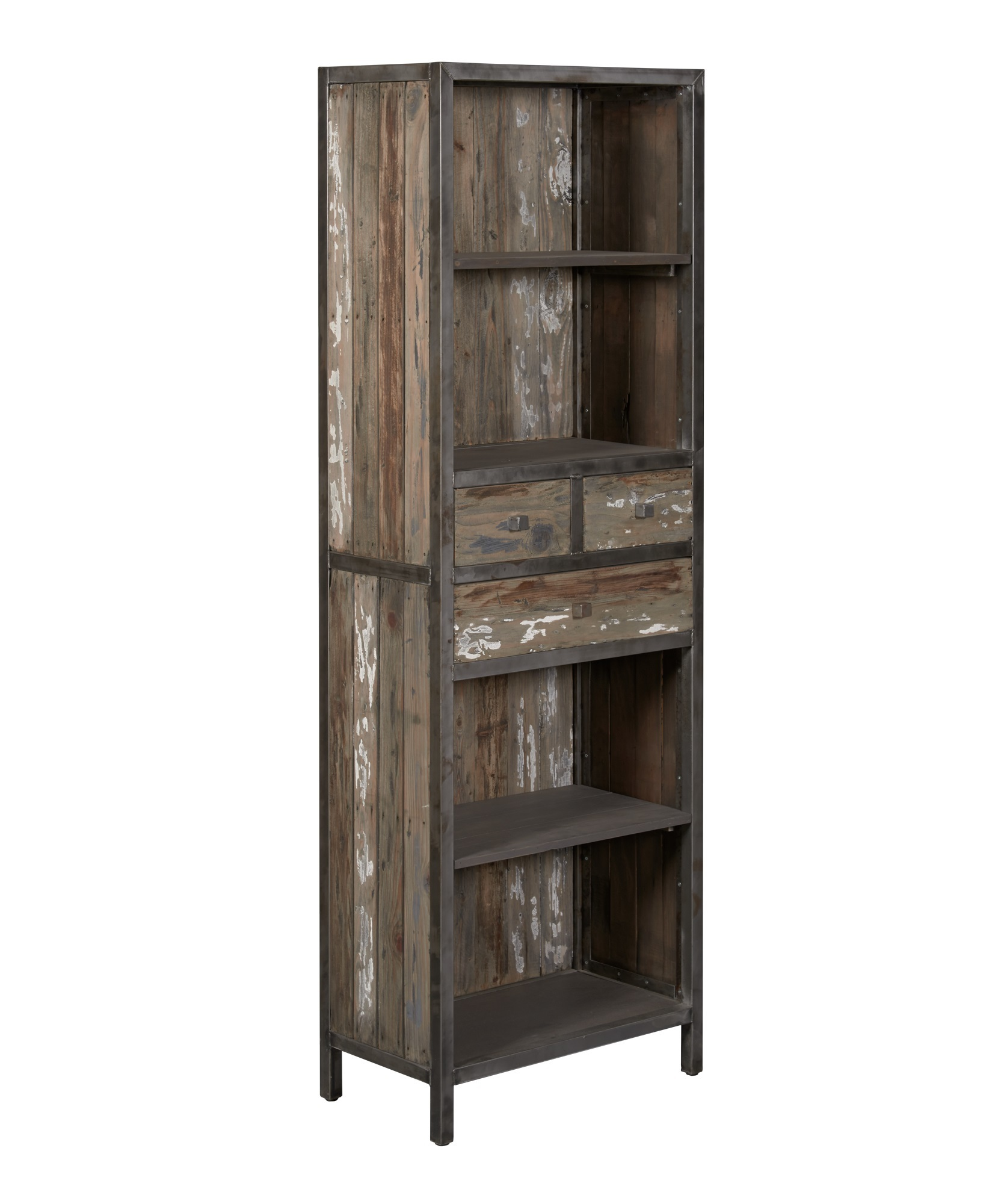 kasten-wouter-boekenkast-towerliving-KL 0143-65cm-oud grenen-grijs-vintage-metaal-industrieel