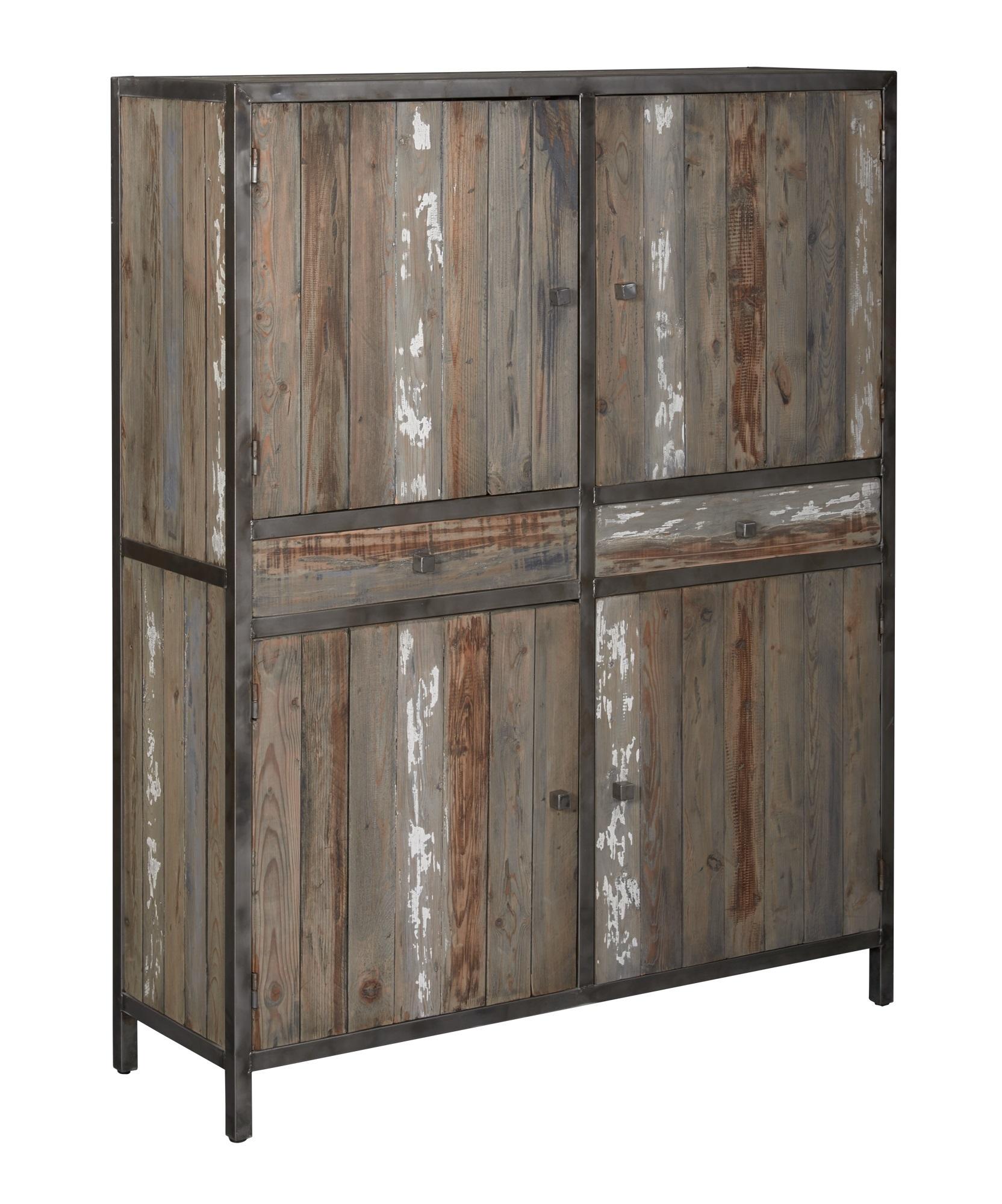 kasten-wouter-opbergkast-towerliving-KL 0146-130cm-oud grenen-grijs-vintage-metaal-industrieel