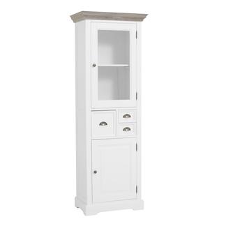kast-fleur-vitrinekast-towerliving-DD0015-66cm-vergrijsd hout-trendy wit-laadjes-glazen deur-komgreep