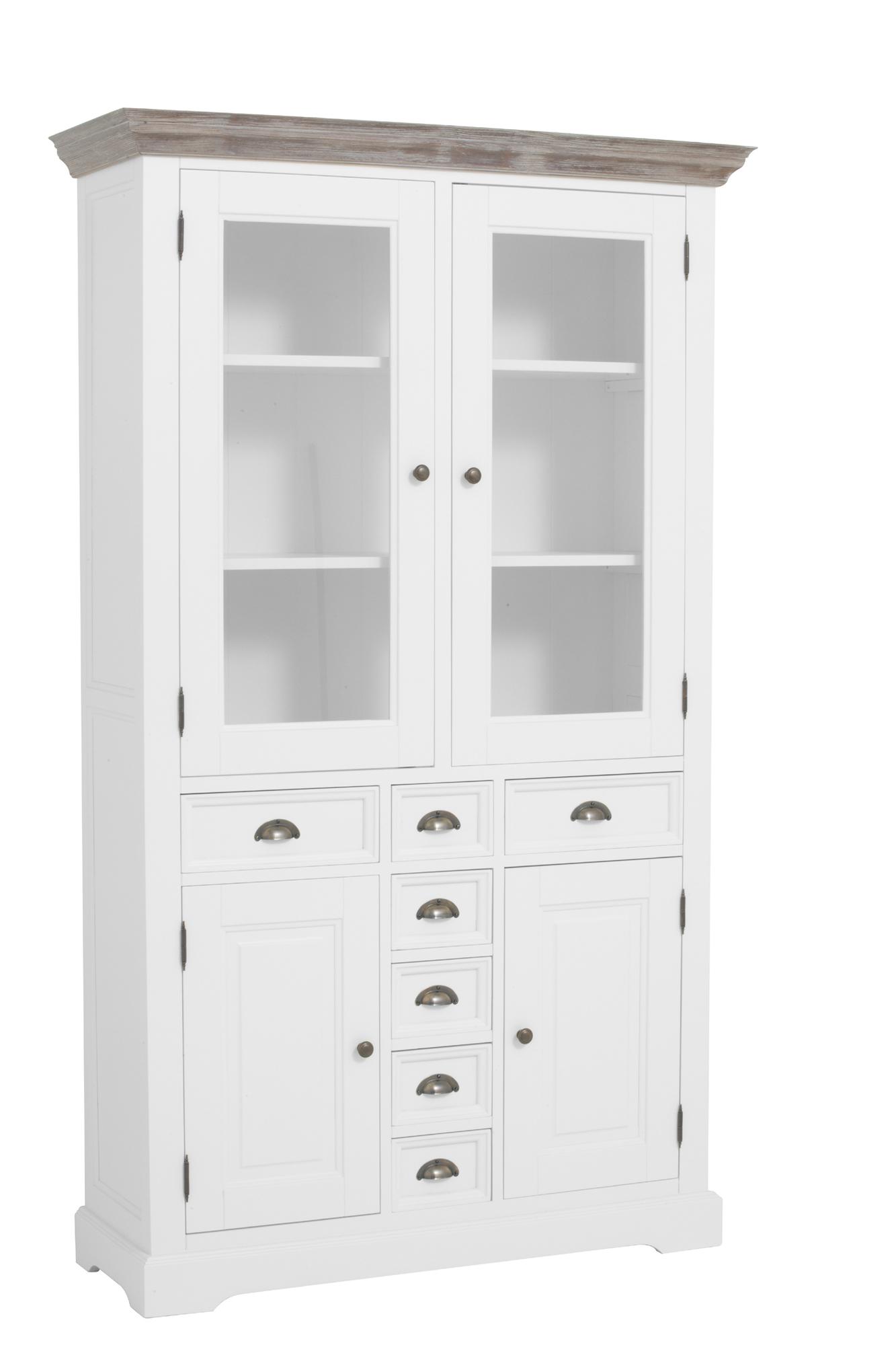 kast-fleur-buffetkast-towerliving-DD0012 -115cm-vergrijsd hout-trendy wit-laadjes-glazen deurtjes-komgreep