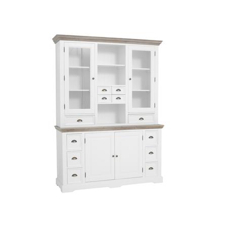 kast-fleur-buffetkast-towerliving-DD0010 -164cm-vergrijsd hout-trendy wit-laadjes-glazen deurtjes-komgreep