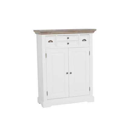 kast-fleur-meidenkast-towerliving-DD0018-100cm-vergrijsd hout-trendy wit-laadjes-deurtjes-komgreep