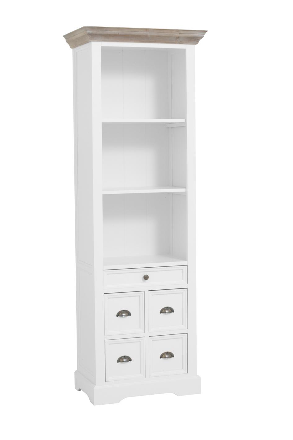kast-fleur-boekenkast-towerliving-DD0016-66cm-vergrijsd hout-trendy wit-laadjes-komgreep