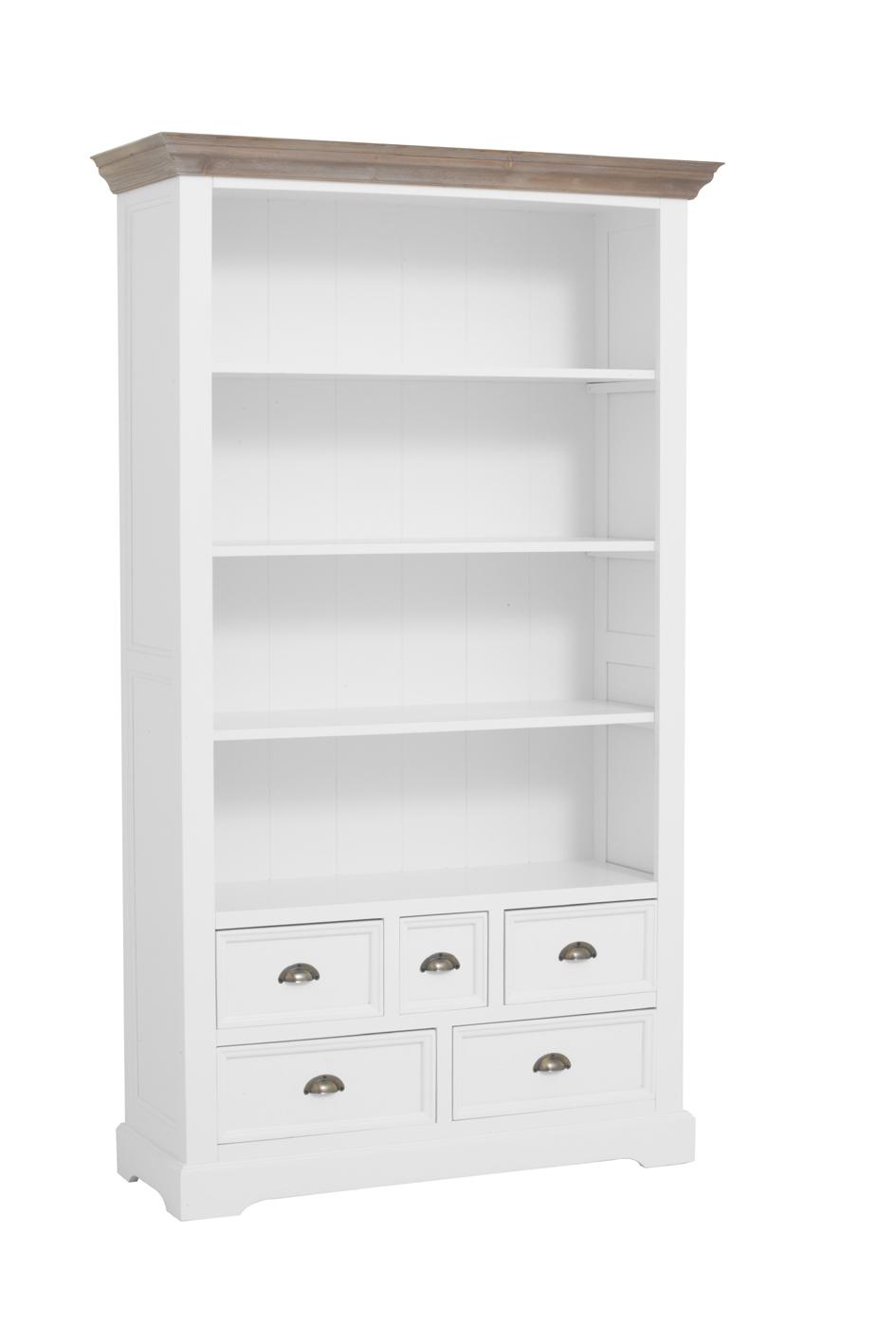 kast-fleur-boekenkast-towerliving-DD0017-111cm-vergrijsd hout-trendy wit-laadjes-planken-komgreep