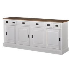 Lisa is een wit dressoir van hout met afmeting 200 x 90 x 50 cm met schuifdeuren en lades.