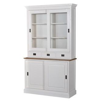 witte buffetkast lisa van hout met glas met afmeting 220 x 130 x 47,5 cm
