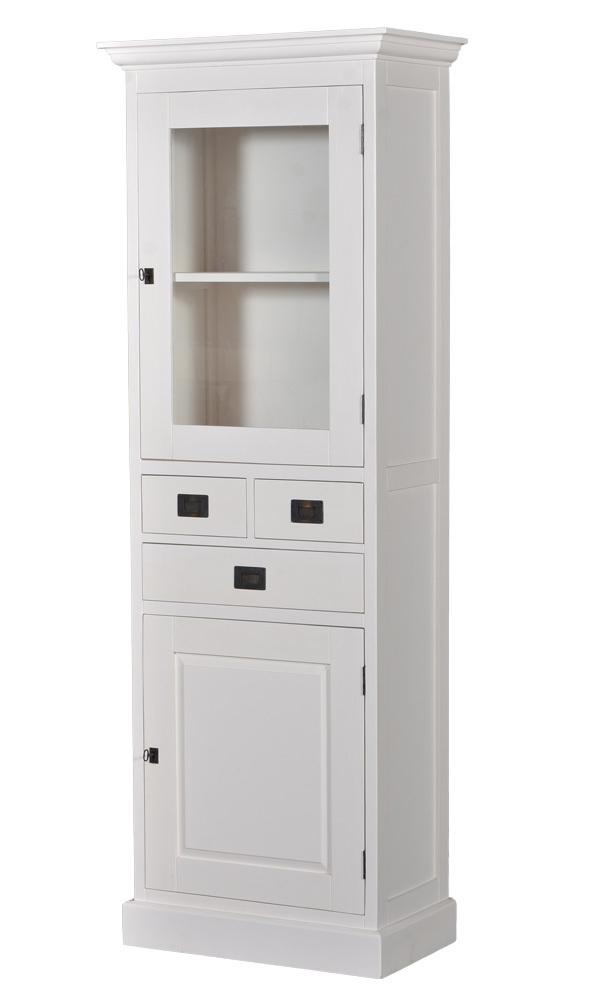 kast-lisa-vitrinekast-towerliving-PR 0030TT-70x40cm-wit-vergrijsd hout-laadjes-glazen deur