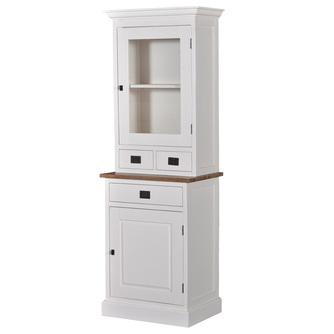 kast-lisa-vitrinekast-towerliving-PR 0037TT-70cmx36,5-wit-vergrijsd hout-laden-glazen deur