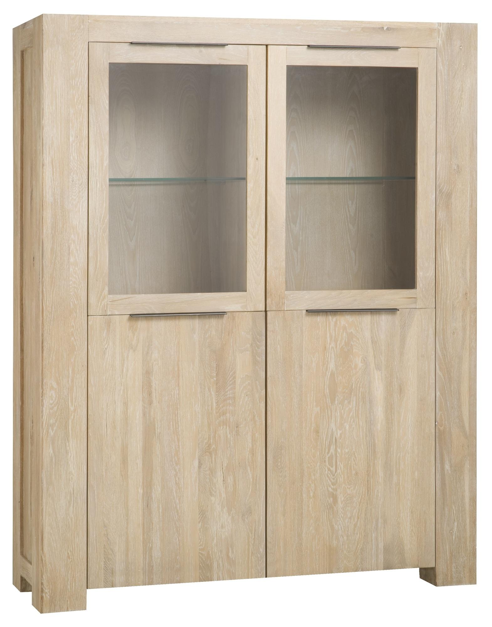 kast-luuk-vitrinekast-towerliving-BM 1012-140cm-eiken-whitewash-glazen deuren