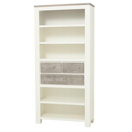 kast-roy-boekenkast-towerliving-MC 0010-90cm-vergrijsd eiken-wit-landelijk-planken-laden