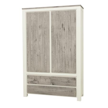 kast-roy-opbergkast-towerliving-MC 0019-130cm-vergrijsd eiken-wit-landelijk-deuren-laden