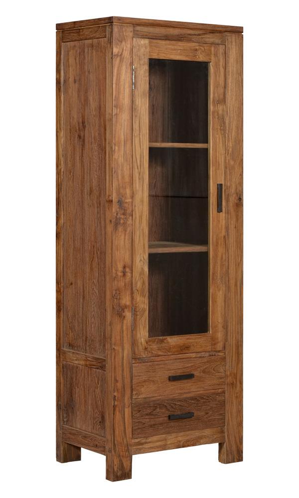 kast-ruben-vitrinekast-towerliving-SB 0030-70cm-massief-teakhout-waslaag-glazen deur-laden