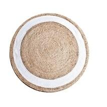 Vloerkleed Jute natural/white rond